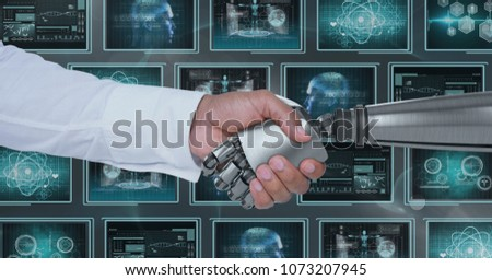3D robot hand and person shaking hands against background with medical interfaces #1073207945