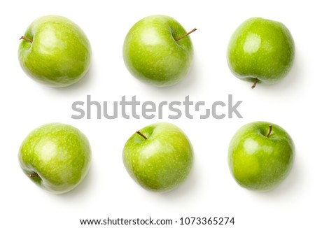 Green apples isolated on white background. Granny smith apples. Top view #1073365274