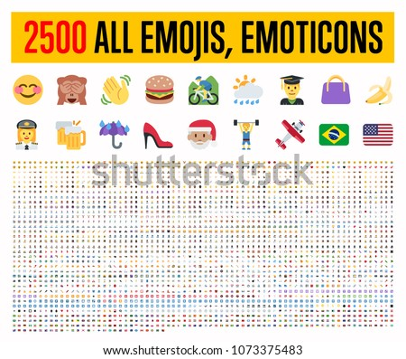 All type of emojis, stickers, emoticons flat vector illustration symbols. All world countries flags, Hands, man, woman, workers, fruit drinks food house, animals, activity, sport icons set, collection Royalty-Free Stock Photo #1073375483