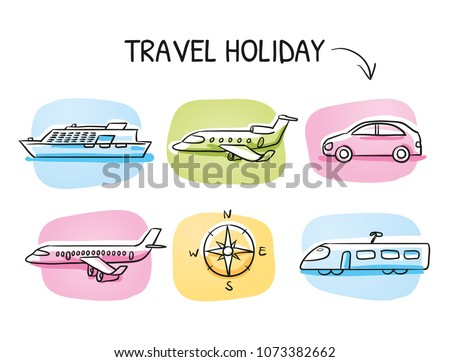 Icon set travel holidays, transportation with plane, jet, car, train, cruise ship and globe. Hand drawn cartoon sketch vector illustration, marker style coloring on tiles.