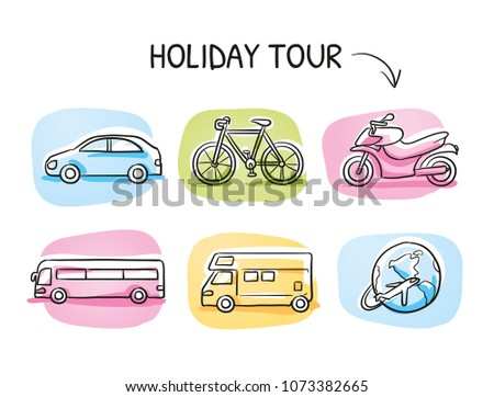 Icon set travel holidays, vacation with car, motor cycle, bike, bus, trailer, caravan and globe. Hand drawn cartoon sketch vector illustration, marker style coloring on tiles.