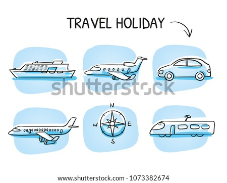 Icon set travel holidays, transportation with plane, jet, car, train, cruise ship and globe. Hand drawn cartoon sketch vector illustration, marker style coloring on blue tiles.