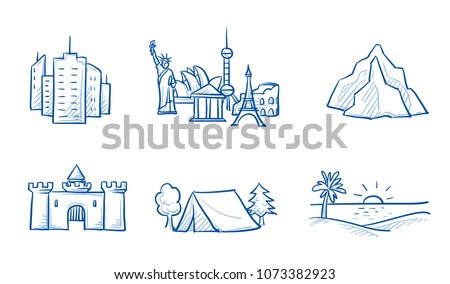 Set of holiday destination types: city trip, camping, beach holiday, sightseeing tour. Hand drawn line art doodle vector illustration.