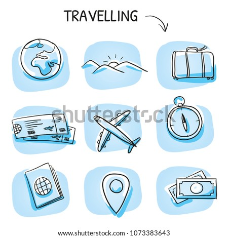 Icon set travel holidays, vacation with plane, compass, luggage, passport, globe, tickets, money, landscape. Hand drawn cartoon sketch vector illustration, marker style coloring on blue tiles.