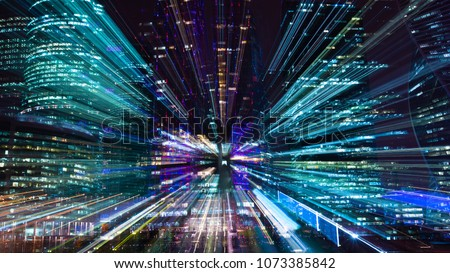 Hi-tech abstract background. Cityscape of skyscrapers of Moscow City Zooming Royalty-Free Stock Photo #1073385842