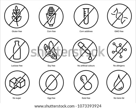 Set ingredient warning label icons. Common allergens (gluten, lactose, soy, corn and more), sugar and trans fat