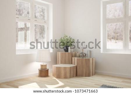 White empty room with winter landscape in window. Scandinavian interior design. 3D illustration #1073471663