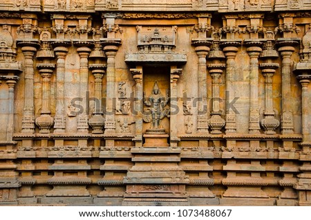 Carved idol on the inner wall of the Brihadishvara Temple, Thanjavur. Hindu temple dedicated to Lord Shiva, it is one of the largest South Indian temple, built by Raja Chola I between 1003 and 1010 AD #1073488067