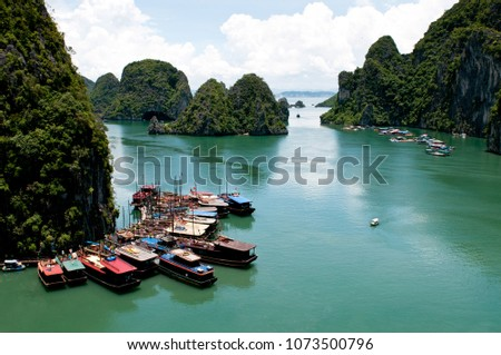 Tourist boats at Halong bay in Vietnam, Asia #1073500796