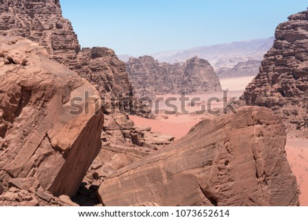 Panoramic view of the Wadi Rum desert, Jordan #1073652614