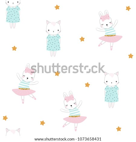 Seamless pattern with cute little bunny and kitten. Vector hand drawn illustration.