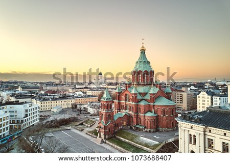 Aerial view of Uspenski Cathedral, Helsinki Finland #1073688407