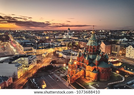 aerial view, Presidential Palace and Uspenski Cathedral, Helsinki Finland #1073688410