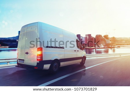 Van run fast on the highway to deliver. 3D Rendering #1073701829