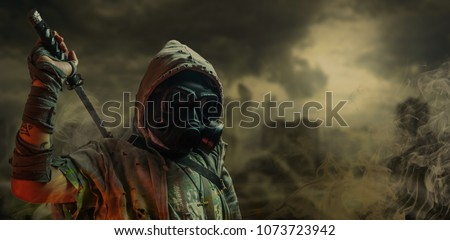 Nuclear post-apocalypse survivors Royalty-Free Stock Photo #1073723942