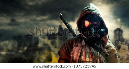 Nuclear post-apocalypse survivors Royalty-Free Stock Photo #1073723945