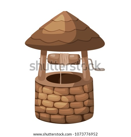Color image of a simple well with a roof on a white background in the style of a cartoon. Vector illustration