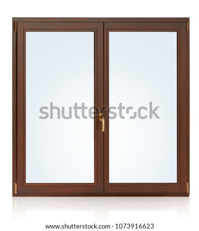 Plastic (wooden) window isolated on white background.  #1073916623