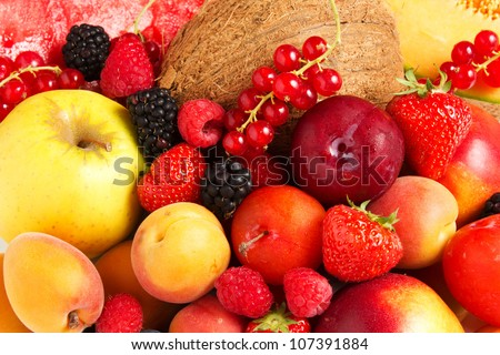 Stock Photo:  High quality collection of fruits and vegetables borders on a white background