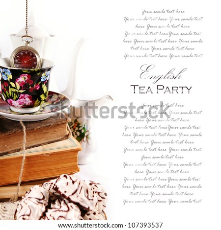 English tea party theme background with pocket watch and books