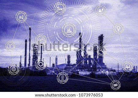 The industry with industrial instruments in the factory with cyber and physical system icons. #1073976053