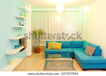 Interior design in a new house. Different colors of lighting #107397896