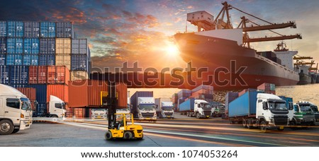Business Logistics concept, Logistics and transportation of Container Cargo ship and Cargo plane with working crane bridge in shipyard at sunrise, industry import-export background #1074053264