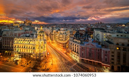 Panorama top view of Gran Via, main shopping street in Madrid from roof top bar, capital of Spain, Europe. #1074060953