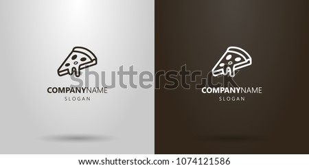 Black and white simple vector pizza slice logo #1074121586