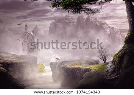 fantasy landscape castle from hill