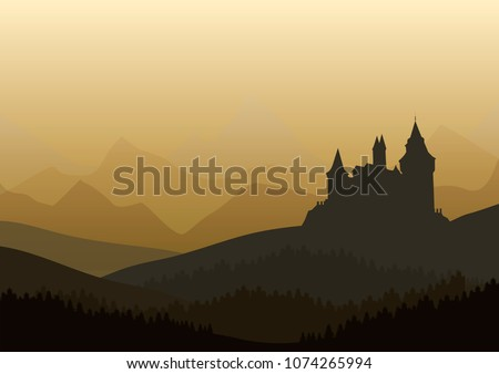 vector illustration odf old castle in the misty mountains  and pine forest landscape