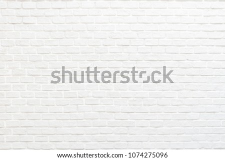 White brick wall texture background with stained old stucco light gray and aged painted cement block for room interior rustic vintage wallpaper decoration #1074275096