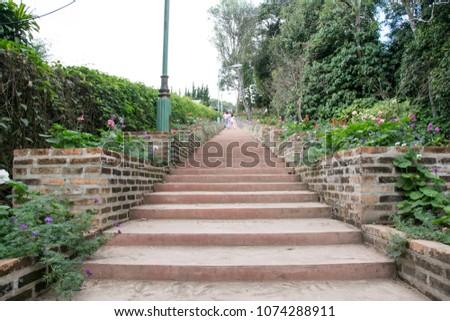 Stairs in brick garden  #1074288911