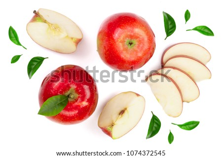 red apples with slices and leaves isolated on white background top view. Set or collection. Flat lay pattern #1074372545