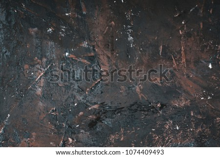old metal background or texture. Abstract Grunge Decorative Dark Blue, Brown stucco Wall Background. Gloomy Rough Smear Texture. Web Banner or Wallpaper With Copy Space For Design.  #1074409493