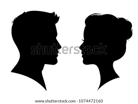 Man and woman silhouette face to face – vector Royalty-Free Stock Photo #1074472160