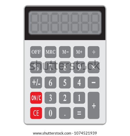 Calculator icon in flat style. Calculator isolated on a white background. Vector electronic calculator. #1074521939