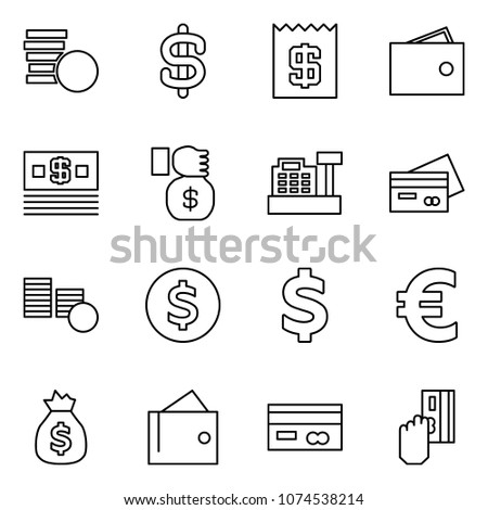 Flat vector icon set - coins vector, dollar sign, receipt, wallet, money, investment, cashbox, credit card, coin, euro, bag, cash pay #1074538214