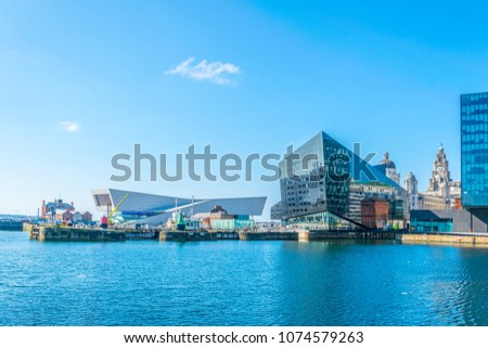 Waterside of Liverpool dominated by the museum of Liverpool and open eye gallery, England #1074579263