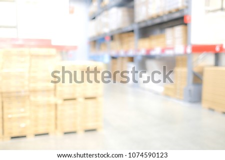 Blurred business background, Blur warehouse with bokeh light background #1074590123