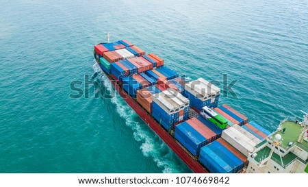 Aerial top view container cargo ship, Business import export logistic and transportation of International by ship in the open sea. #1074669842
