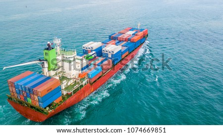 Aerial view container cargo ship, Business import export logistic and transportation of International by ship in the open sea. #1074669851