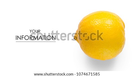 Lemon fruit citrus pattern on white background isolation #1074671585