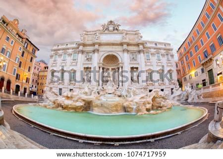 Trevi Fountain (Fontana di Trevi) at sunrise, Rome, Italy #1074717959
