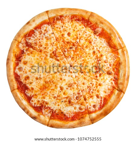 Pizza with cheese isolated on white background. Pizza margarita top view.