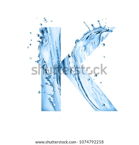 stylized font, text made of water splashes, capital letter k, isolated on white background #1074792218