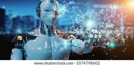 White man humanoid on blurred background using digital globe hud interface 3D rendering #1074798602