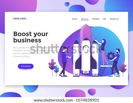 Landing page template of Boost your business. Modern flat design concept of web page design for website and mobile website. Easy to edit and customize. Vector illustration