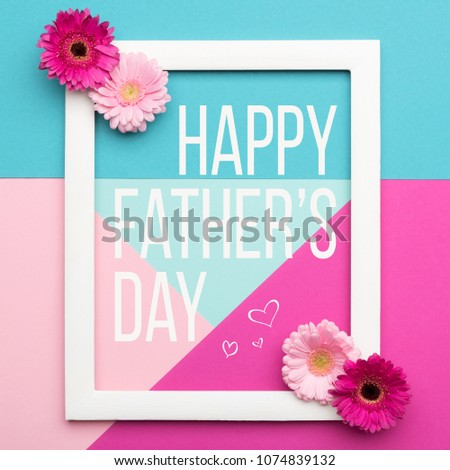 Happy Father's day Pastel Candy Colours Background. Floral flat lay minimalism geometric patterns Father day greeting card with picture frame.