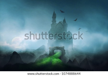 castle in the night with moonlight fantasy